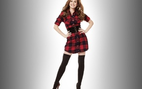 Isla Fisher, plaid, vignette, hands on hips