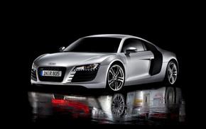 автомобили, отражение, Audi R8, черный фон