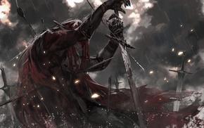 alcd, blood, Pixiv Fantasia, smoke, leather armor, cape