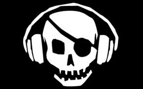 skull, music, headphones