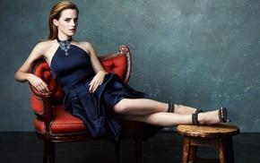 toes, Emma Watson, blue dress, high heels, girl