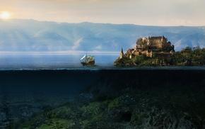 split view, castle, sailing ships, fantasy art