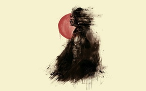 Darth Vader, red, Red sun, Star Wars, painting, artwork
