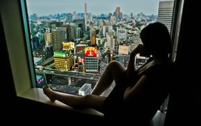 Lost in Translation, Tokyo, silhouette, cityscape, window sill