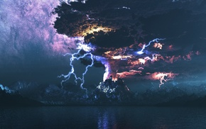 lightning, photo manipulation, volcano