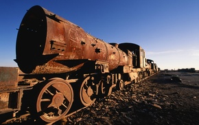 abandoned, train, rust, steam locomotive