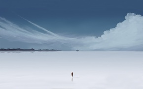 mountain, clouds, horizon, men, minimalism