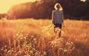 blonde, girl, sunset, depth of field, forest, wheat