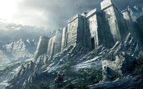 воин, фэнтези, странник, крепость, горы, отвесные стены