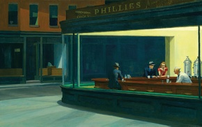 artwork, painting, Edward Hopper, Nighthawks, classic art