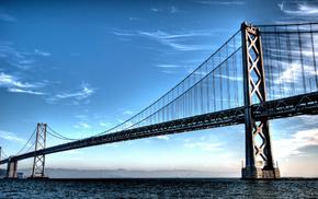 небо, красивое сооружение, горы, большой мост, вода, города