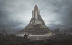 horse, apocalyptic, launch pads, space shuttle, wasteland, dystopian