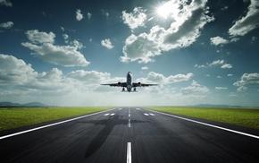 тень, небо, облака, авиация, взлетная полоса, аэропорт