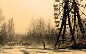 Chernobyl, nature, abandoned, ferris wheel, winter, trees