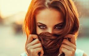закат, оранжевые волосы, руки в волосах, рыжие, Georgiy Chernyadyev