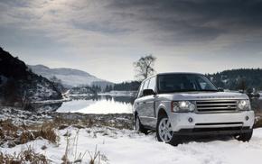 cars, hills, white tops, lake, snow