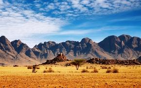 пейзаж, красивая природа, степь, рябые облака, горы, неприступность