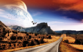 planets, landscape, mountain, fantasy, road