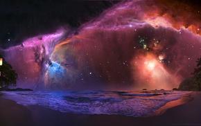 space, stars, nebula, landscape