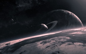 planet, QAuZ, space, planetary rings, space art