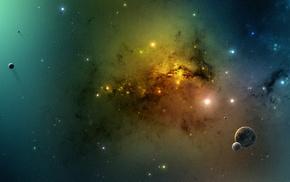 космический арт, космос, планета, туманность