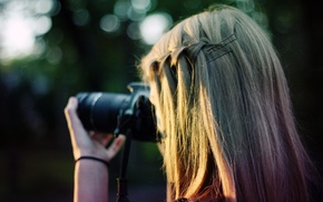 bokeh, camera, blonde, girl outdoors