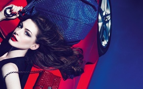 fashion, purses, girl with cars, red cars, brunette, Anne Hathaway