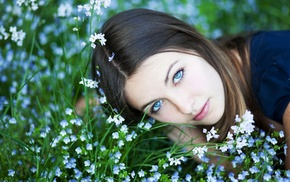 flowers, girl, blue eyes, blue flowers, nature