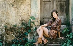 boots, brunette, dress, girl outdoors, model, door