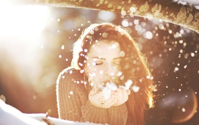 face, closed eyes, bokeh, sunlight, brunette, snow