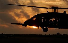закат, солдаты, взлет, вылет на задание, Вертолет, авиация