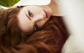 face, green eyes, girl, redhead