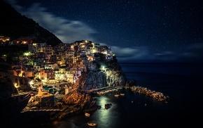 Cinque Terre, Manarola, coast, night, Italy, city