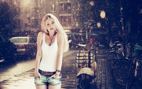 jean shorts, blonde, hands in pockets, rain, girl, shorts