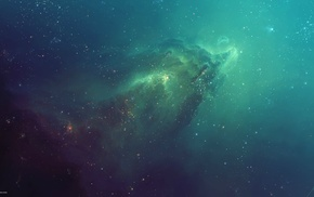 TylerCreatesWorlds, nebula, galaxy, green, space art, artwork
