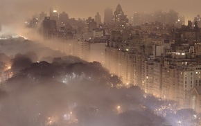 city, New York City, lights, mist, cities