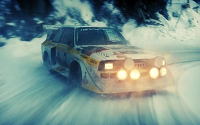 snow, rally cars, audi quattro, drift, Audi
