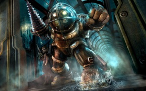 Rapture, BioShock, video games, sea, Big Daddy, Little Sister