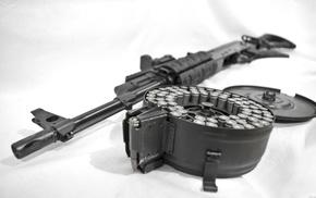 assault rifle, weapon, AK 74, gun, white background