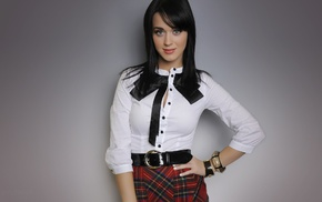 singer, Katy Perry, plaid, hands on hips, simple background