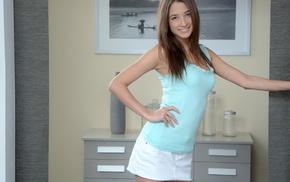 hands on hips, skirt, brunette, tank top