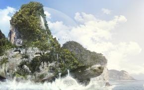 горы, деревья, произведение искусства, научная фантастика, волны
