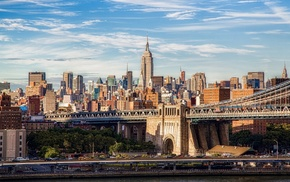 Empire State Building, city, cityscape, clouds, bridge, New York City