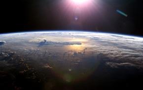 Земля, солнце, космос, горизонт