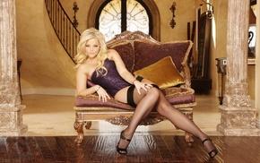 blonde, girls, thigh-highs
