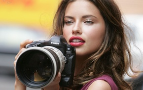 lips, girl, Canon, photography, Adriana Lima, Reflex