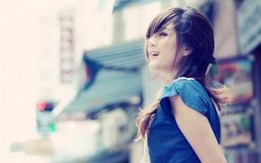 фильтр, девушка, Азия, брюнетка, улыбка
