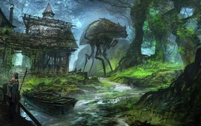 feng zhu, video games, artwork, boat, trees, forest
