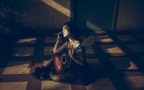 девушка, гитара, брюнетка