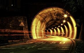 tunnel, night, road